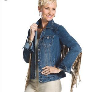 [Chicos] western wear suede fringe denim jacket